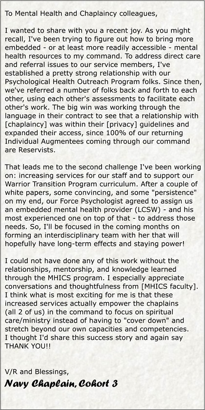 Testimonial letter from MHICS Chaplain in the Navy