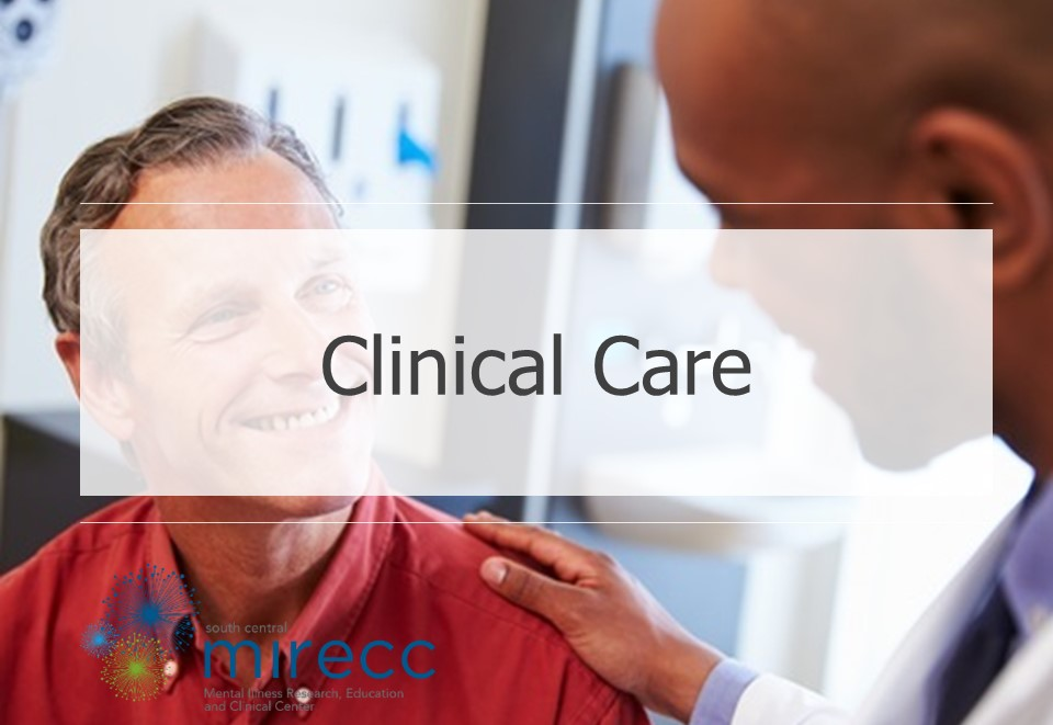 Image banner for the SC MIRECC clinical care core featuring the SC MIRECC logo and a picture of a doctor talking to a smiling patient