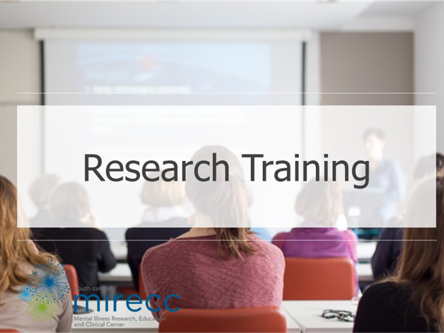 Image banner for the SC MIRECC research training core featuring the SC MIRECC logo and a picture of a group of researchers participating in a research presentation