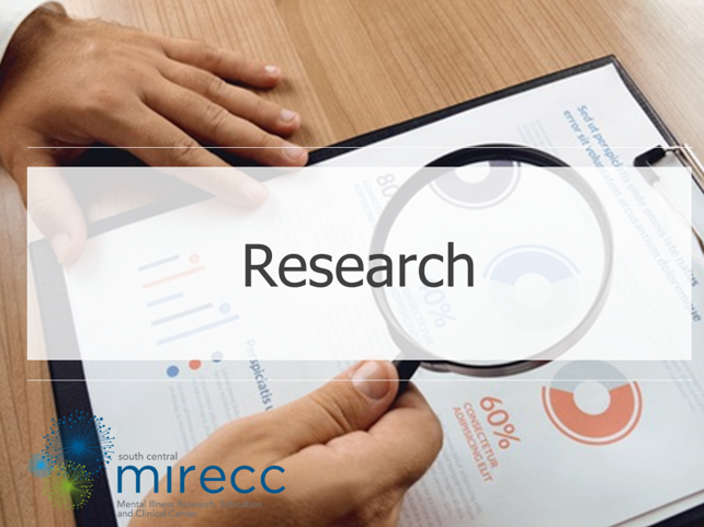 Image banner for the SC MIRECC research core featuring the SC MIRECC logo and a picture of a researcher reviewing data charts