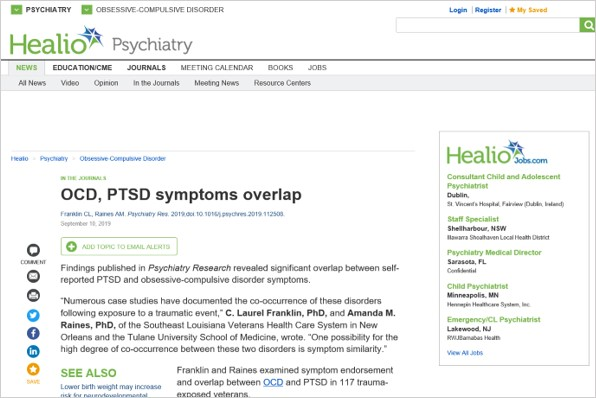 Screenshot of the OCD summary on the Healio Psychiatry website