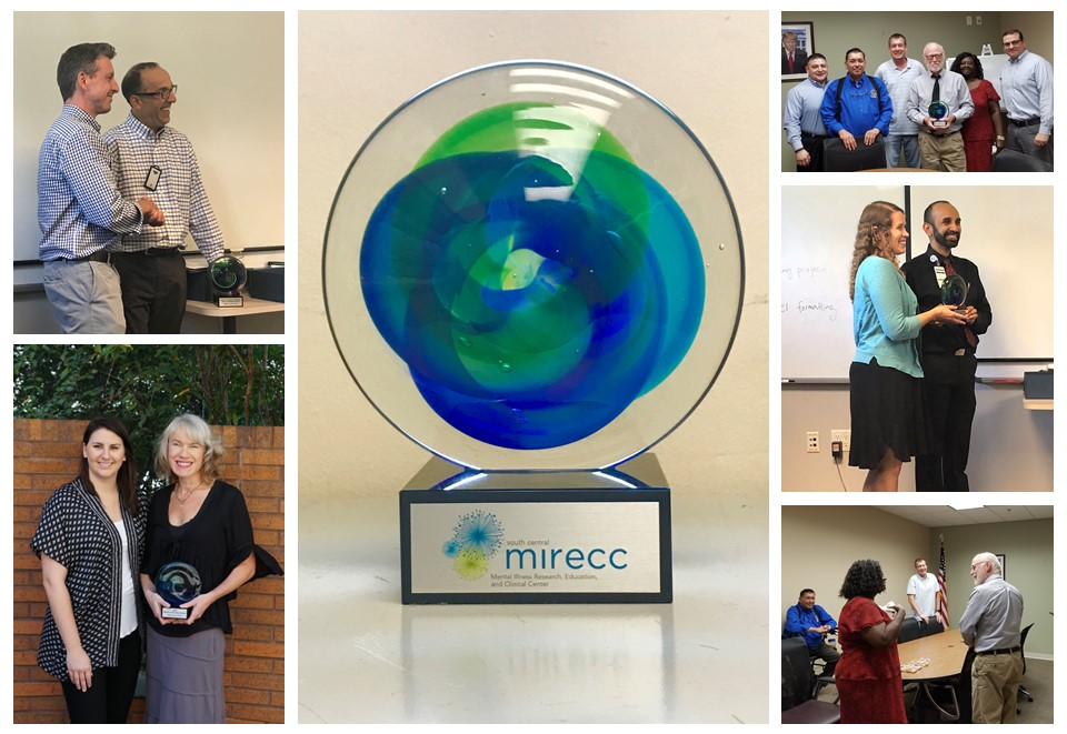 Collage of photos of award   recipients receiving their awards at staff meetings and a close-up of the award.