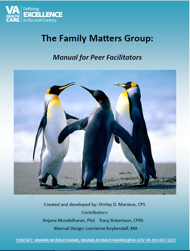 The Family Matters Group: Manual for Peer Facilitators; image of three penguins gathered together