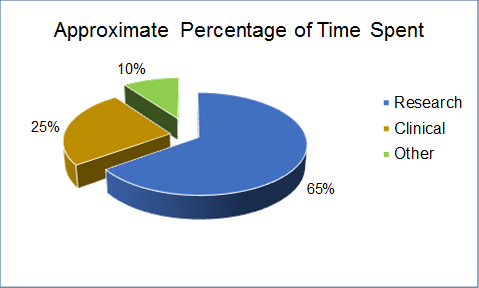 Pie Chart Titled: Percentage of Time Spent with 65% Research, 25% Clinical and 10% Other